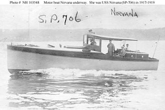 USS Nirvana (SP-706) - Nirvana as a civilian motorboat sometime between 1915 and 1917, prior to her U.S. Navy service.