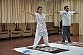 Mrs Manekar and Anil Shrikrishna Manekar - Trunk Movement - Loosening Practice - International Day of Yoga Celebration - NCSM - Kolkata 2015-06-21 7322.JPG