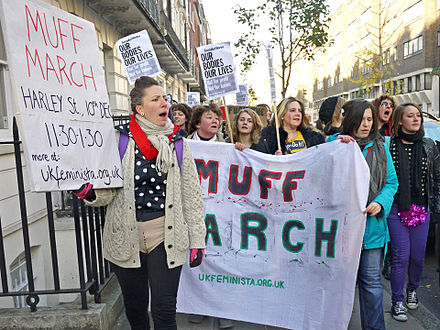 The Labia pride movement resents the ideals of female cosmetic genital surgeries: The Muff March in London, 2011 Muff March Harley Street 2.jpg