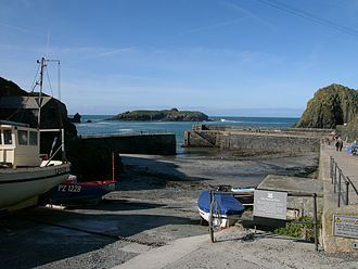 Mullion Cove - The harbour, looking out to Mullion Island