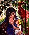 Mutter und Kind mit Vogel, Margret Hofheinz-Döring, Öl, 1994 (WV-Nr.8853).jpg