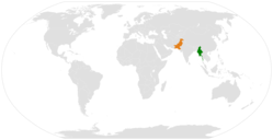 Map indicating locations of Myanmar and Pakistan