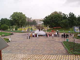 The NTR Gardens is among the gardens in the vicinity of Hussain Sagar lake serving as a recreation park. NTR Garden, Hussain Sagar.jpg