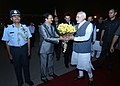 Narendra Modi being seen off by the Governor of Maharashtra, Shri C. Vidyasagar Rao, the Chief Minister of Maharashtra, Shri Devendra Fadnavis and the Union Minister for Human Resource Development, Shri Prakash Javadekar.jpg