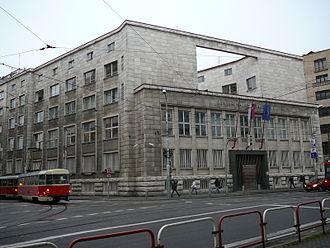 Imrich Karvaš - Head office of the Slovak National Bank in Bratislava (presently General Prosecutors Office), designed by architect Emil Belluš