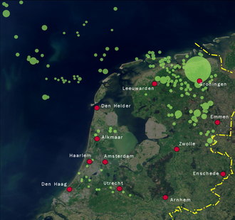Natural gas concessions in the Netherlands. Today the Netherlands accounts for more than 25% of all natural gas reserves in the EU. Natural gas NL.png