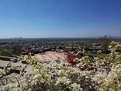 Neemrana Fort Palace terrace and the town below.