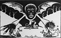 "Negro Rule detail, Cartoon used in the campaign for the ratification of the North Carolina disfranchising constitution- shows hideous Negro vampire bat ""Negro Rule"" rising from a ""fusion (3rd party) ballot LCCN2007681651 (cropped).jpg"