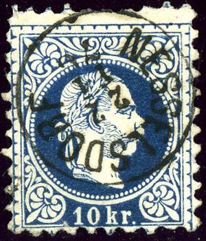 Kopřivnice - Former Austro-Hungarian KK 10 Nesselsdorf stamp from 1876