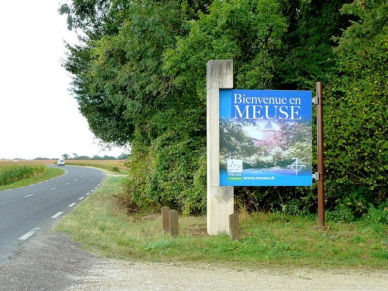 """Nettancourt RD 994 (ancienne Voie romaine Reims-Metz) - Panneau """"Bienvenue en Meuse"""""""
