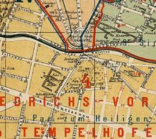 Karte von 1874 mit dem 1842 gebauten Rother-Stift an der Stelle des früheren Erziehungshauses vor dem Halleschen Tor[3] (Quelle: Wikimedia)