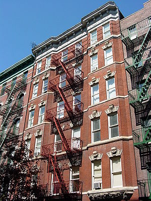 Brownstone building on the Lower East Side in ...