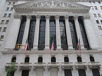 Stock exchange - The New York Stock Exchange on Wall Street in New York City, the world's largest stock exchange per total market capitalization of its listed companies