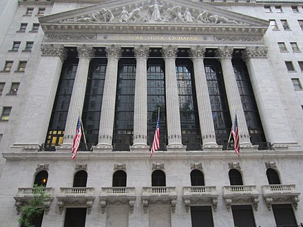 The New York Stock Exchange on Wall Street in New York City, the world's largest stock exchange per total market capitalization of its listed companies New York Stock Exchange New York City, May 2014 - 048.jpg