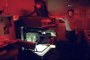 Process camera - A process camera in a California newspaper darkroom in the mid-1980s.
