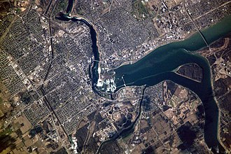 Niagara Falls - Aerial view of Niagara Falls, showing parts of Canada (left) and the United States (upper right)