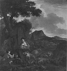 Mutter, Kind und Herde in einer Landschaft (Art des)