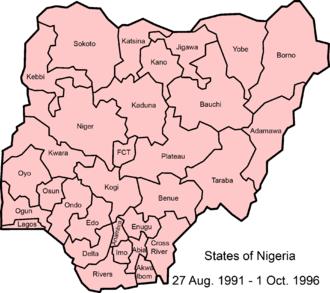States of Nigeria - Image: Nigeria 1991 1996