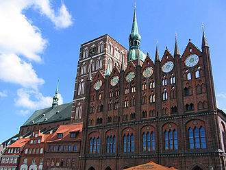 Mecklenburg-Vorpommern - Late medieval Brick Gothic architecture in Stralsund, nowadays a UNESCO World Heritage Site.