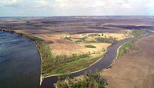 Nishnabotna River - The mouth of the Nishnabotna River at the Missouri River viewed from the southwest