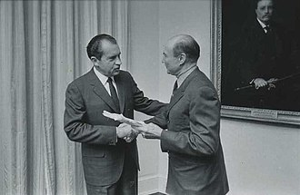 Thurmond with President Richard Nixon in 1969 Nixon Contact Sheet WHPO-2570 (cropped).jpg