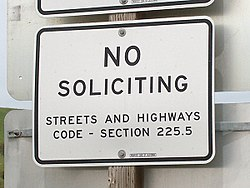 "A ""No Soliciting"" sign at a freeway rest area"