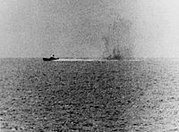 North Vietnamese P-4 under fire from USS Maddox (2 August 1964)