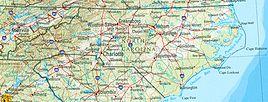 Geographische Karte North Carolinas
