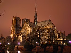 Flèche - View of Notre Dame, Paris showing its flèche