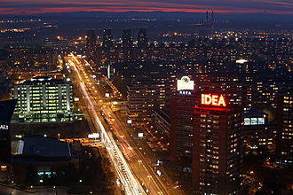 New Belgrade - View of New Belgrade at night