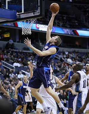 Dirk Nowitzki playing with the Dallas Mavericks