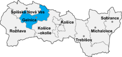Location of Gelnicas apriņķis