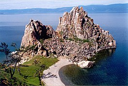 aerial view of rocky island in Lake Baikal