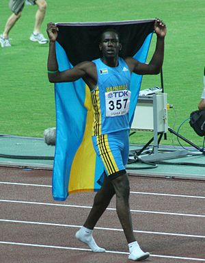 Donald Thomas (athlete) - Donald Thomas celebrating in Osaka 2007