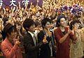 Osamu Mukai in the premier film preview in alma mater Meiji University.jpg