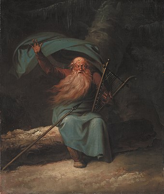 Ossian Singing, by Nicolai Abildgaard, 1787; James Macpherson's Ossian cycle was immensely popular throughout Europe Ossian. Den gamle blinde skotske barde synger til harpen sin svanesang.jpg