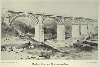 Newcastle and North Shields Railway - Ouseburn Bridge, near Newcastle, built by the Newcastle and North Shields Railway in the 1830s using laminated timber arches on masonry piers, similar to the Wiebeking system used in Paris