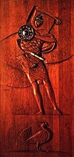 Oxaguian - escultura de Carybé em madeira, em exposição no Museu Afro-Brasileiro, Salvador, Bahia, Brasil