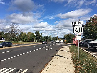 Pennsylvania Route 611 - PA 611 northbound past Almshouse Road in Doylestown Township