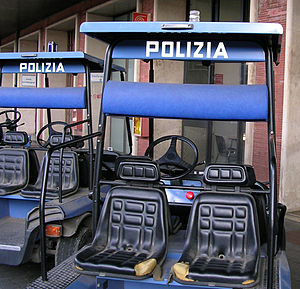 Golf cart - Italian State Police golf carts at Venice Railway Station.