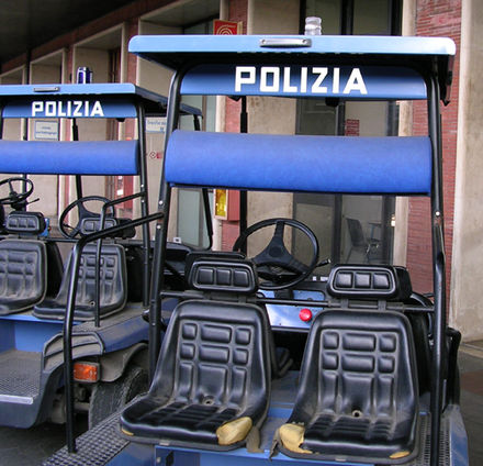Police golf carts at Venice Railway Station - Polizia di Stato