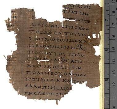 Fragment from the Histories VIII on Papyrus Oxyrhynchus 2099, early 2nd century AD POxy v0017 n2099 a 01 hires.jpg