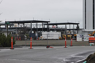 Paine Field - Construction of the passenger terminal, seen in early 2018