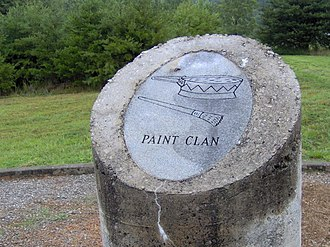 Cherokee clans - Paint Clan pillar from the monument at Chota