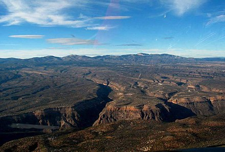 The Pajarito Plateau in New Mexico is an example of a volcanic plateau. Pajarito Plateau.jpg