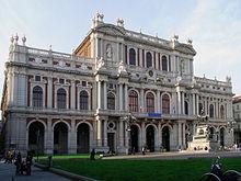 Palazzo Carignano, sede della Camera dei deputati italiana dal 1861 al 1865 e prima, dal 1848 al 1860, della Camera dei deputati del Regno di Sardegna.