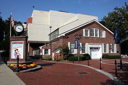 Paper Mill Playhouse where Hathaway appeared in several productions as a child Paper Mill Playhouse entrance.jpg