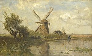 Pulchri Studio - Paul Gabriël: Windmill in a pond.