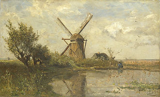 Pulchri Studio - Paul Gabriël: Windmill in a pond.