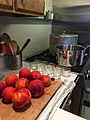 Peaches with jam jars and boiling water bath canner.jpg